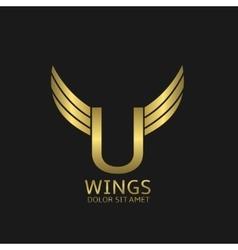 Golden U letter logo vector image vector image