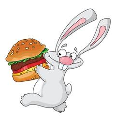 rabbit and hamburger vector image