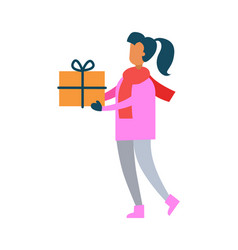 woman pink sweater hold present gift box in hands vector image