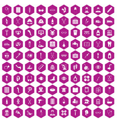 100 disabled healthcare icons hexagon violet vector image vector image