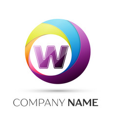 Letter w logo symbol in the colorful circle on vector