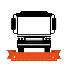 monochrome silhouette of bus with ribbon vector image