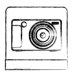 monochrome sketch of digital photo camera in vector image