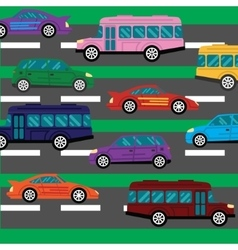 Road collapse and traffic jams background with vector image vector image