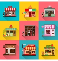 Set of flat shop building facades icons with vector image