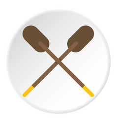 Two wooden crossed oars icon circle vector