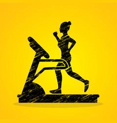 woman running on treadmill graphic vector image