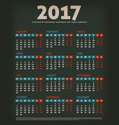 2017 design calendar on black background vector