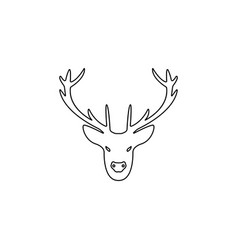 a deer head silhouette line icon vector image