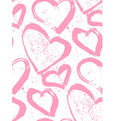 a seamless pattern of hearts painted in hands vector image