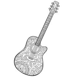 Adult coloring bookpage a cute guitar image vector