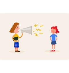 Angry teacher scolds the girl flat vector