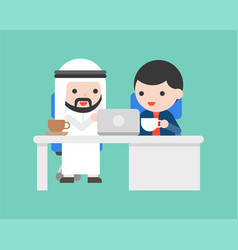 Arab businessman sit in office desk and discuss vector