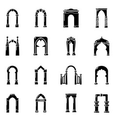 arch types icons set simple style vector image