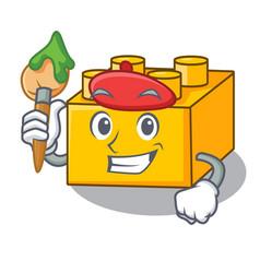 artist plastic building blocks cartoon on toy vector image