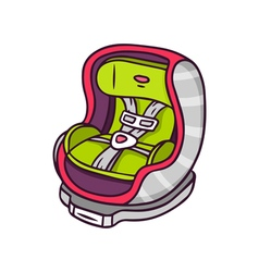 Baby car seat bright children isolated on w vector