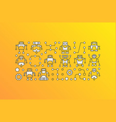 Banner with robot icons on yellow vector