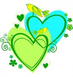 birds on the heart vector image
