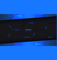 Black and blue hexagonal technology background vector