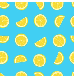 Blue and yellow lemon textile print seamless vector