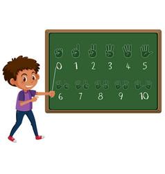 Boy teaching hand number gesture vector