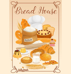 Bread and bakery food products vector