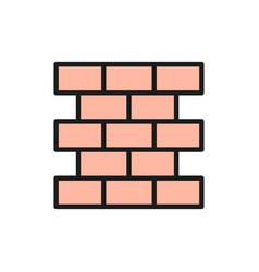 bricks wall brickwork flat color line icon vector image