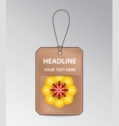 Bronze tag with spring flower vector