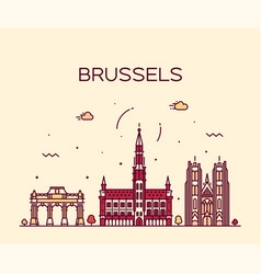 brussels skyline belgium linear style vector image