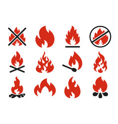 burn fire icon burning flame fireball silhouette vector image