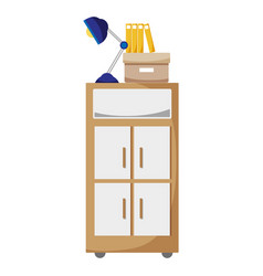Cabinet archive with books and lamp desk vector