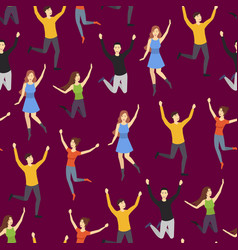 cartoon characters group people jumping vector image