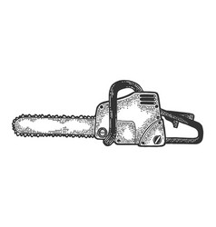 Chainsaw tool sketch engraving vector