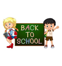 Children with back to school sign vector