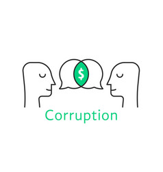 Corruption between two thin line person vector