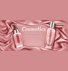 Cosmetics bottles mockup serum and primer tubes vector