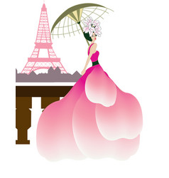 couture woman at the eiffel tower vector image