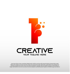 Creative logo with initial number one 1 vector