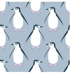 cute chinstrap penguin seamless pattern vector image