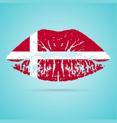 denmark flag lipstick on the lips isolated on a vector image