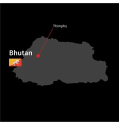 Detailed map of Bhutan and capital city Thimphu vector