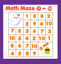 Educatiional children game mathematics maze vector