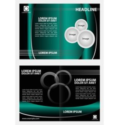 Empty bifold brochure template design with red col vector