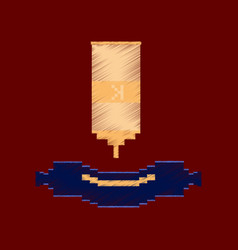 Flat shading style icon pixel sausage with ketchup vector