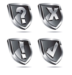 Four Silver Shields with four symbols vector image