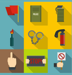 freedom demonstration icon set flat style vector image