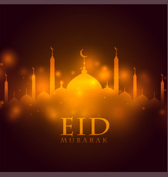 Glowing mosque eid mubarak festival greeting vector