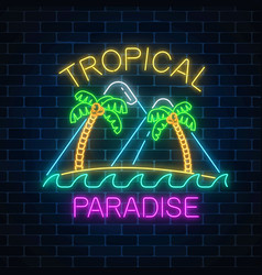 glowing neon summer sign with two palms island vector image