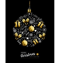 Gold Christmas and New Year bauble decoration vector image