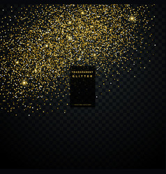 Golden glitter particle dust transparent vector